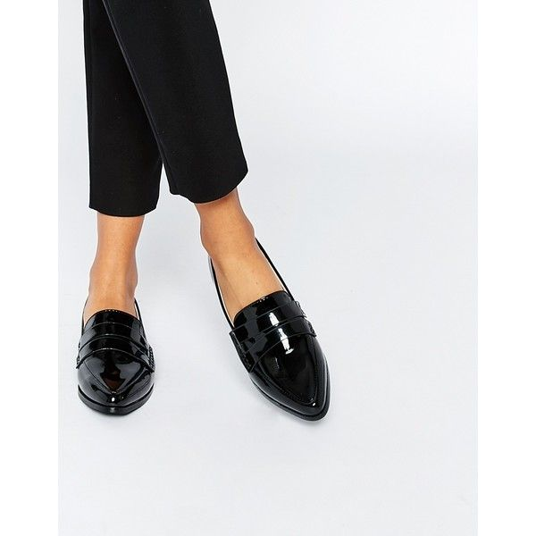 Daisy Street Patent Pointed Toe Loafer Flat Shoes ($36) ❤ liked on Polyvore featuring shoes, black, black flat shoes, flat pumps, black flats, black loafer shoes and pointy-toe flats