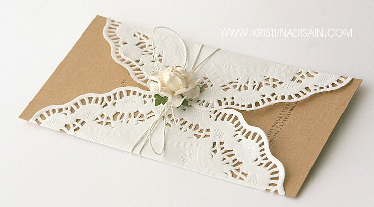 Eco Wedding Invitation With Doily Lace
