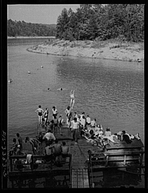 Norris Dam, Tennessee. Tennessee Valley Authority (TVA). Lake created by Norris Dam provides swimming facilities for people of Knoxville