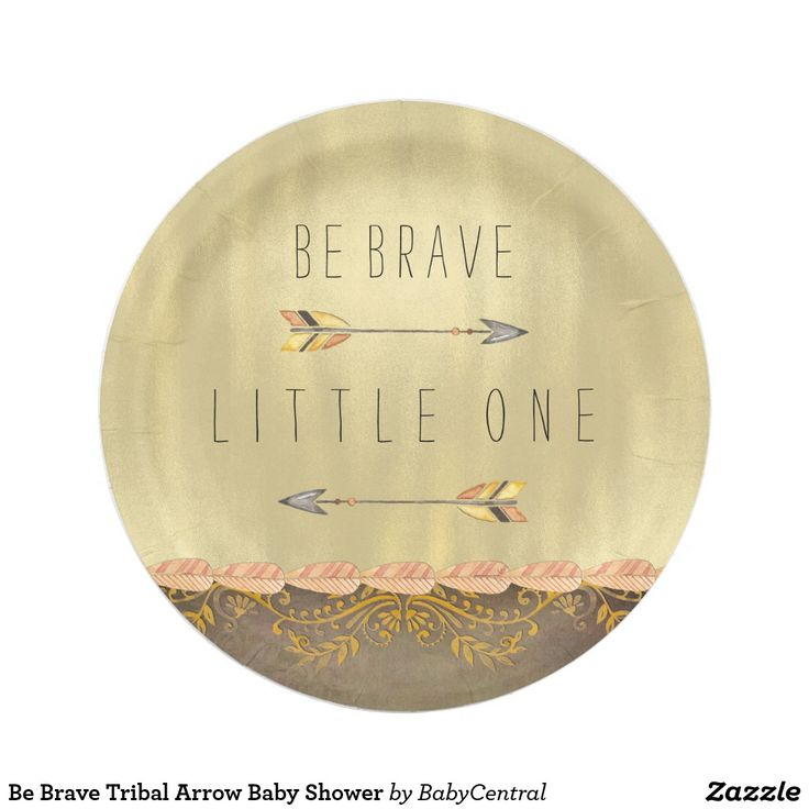 Be Brave Tribal Arrow Baby Shower Paper Plate