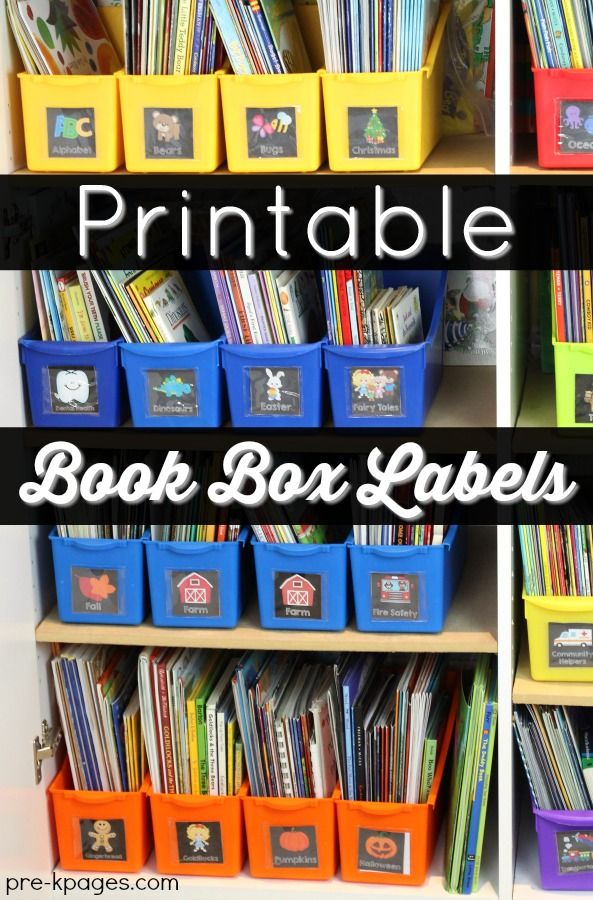 Printable Teacher Book Tub Labels. 44 thematic labels for your teacher book tubs in preschool or kindergarten. Includes editable text so you can customize with your own words or language. - Pre-K Pages