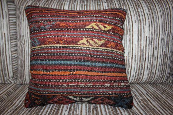 "Antique Turkish Kilim Pillow Cover Cushion Cover 16"" x 16"" Homedecor Pillows Throw Pillows Accent Pillows Bohomian Pillows Embroidery Rug"