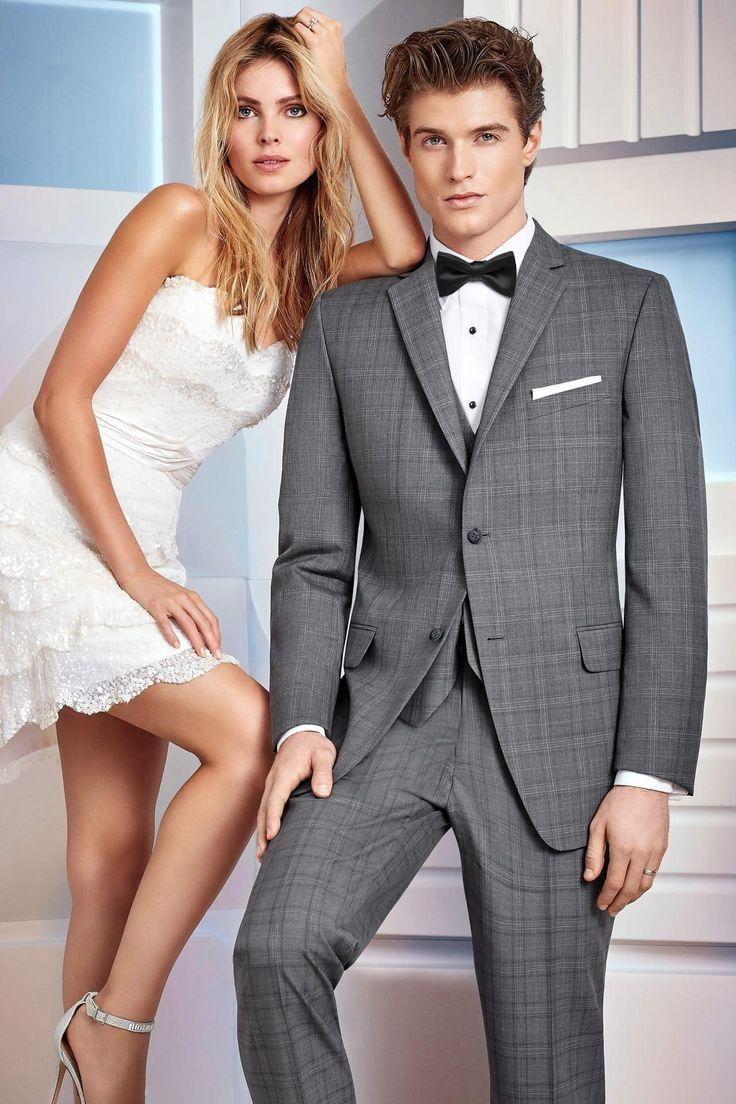 Ike Behar Ultra Slim Grey Plaid Hamilton Suit Ultra Slim Fit Suit | Jim's Formal Wear