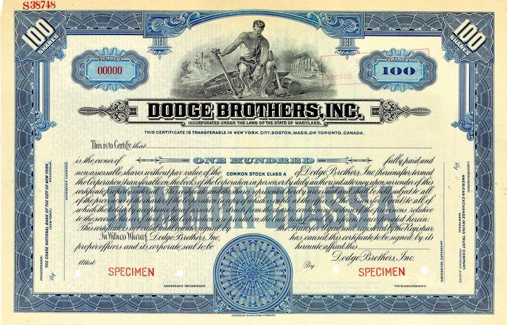 Dodge Brothers, Aktie über 100 Shares von 1925 + SPECIMEN + RARITÄT!