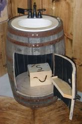 barrel sink | ... see these rustic wine and whiskey barrels make great sink bases