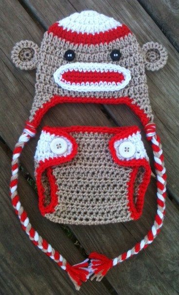 Newborn Crochet Sock MONKEY n Matching DIAPER COVER by shayahjane, $25.00