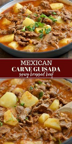Carne Guisada with tender beef slices and potatoes braised in tomatoes for an ea…