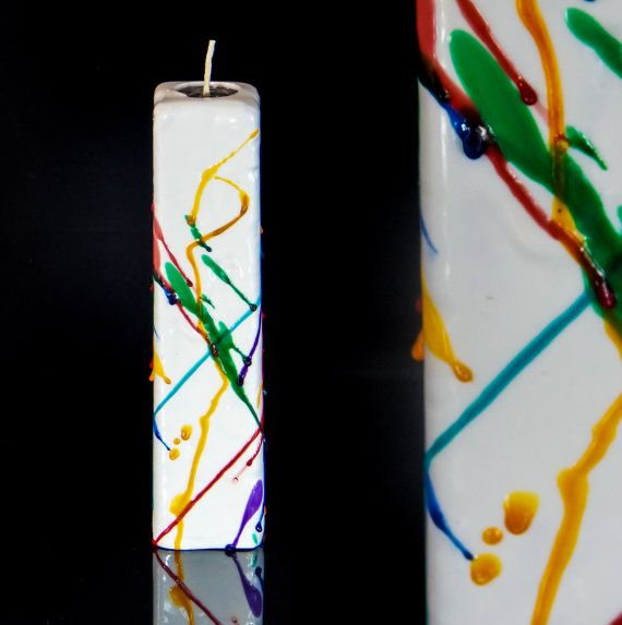 Candles_Rainbow Candle_Modern design by MonnaCandles on Etsy