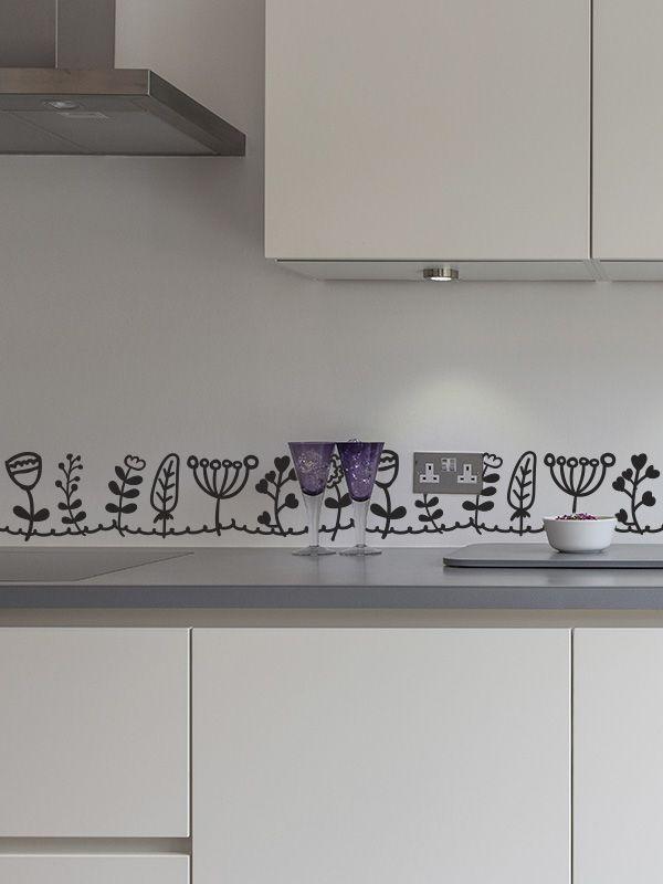 Cenefas florecillas de vinilo muy elegantes y divertidas for Vinilos de cocina