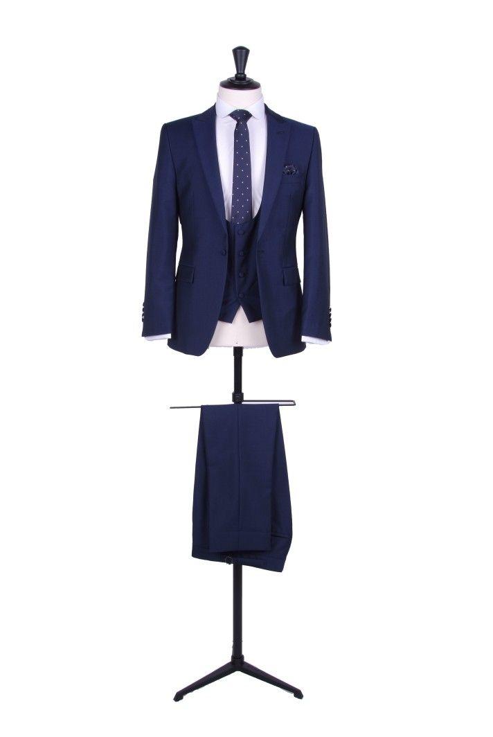 Slim fit royal blue wedding suit hire