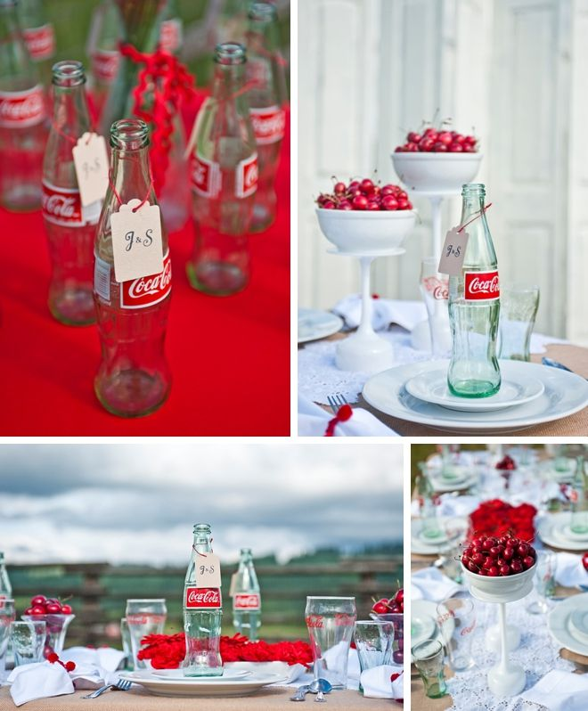 centerpiece ideas -vases  Cherry Coca-Cola Inspiration Shoot by David A. Barss and Perfect Planning Weddings   Events