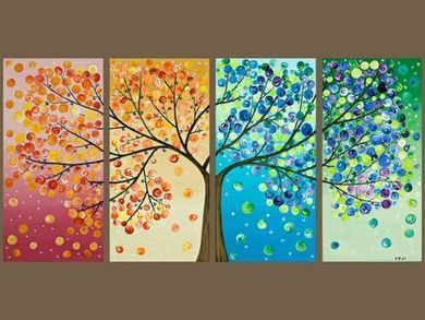 Inspiration for yr 3 four seasons artwork. Could have no leaves on the winter section and some flowers on the spring.
