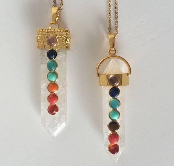Chakras quartz pendant