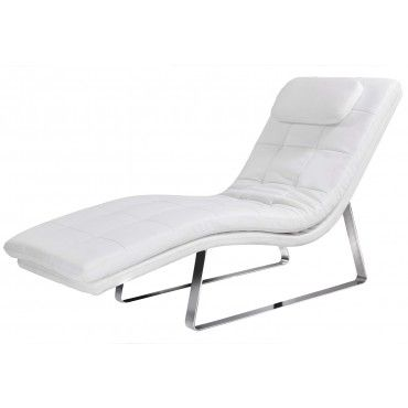 modern white leatherette chaise lounge malaga