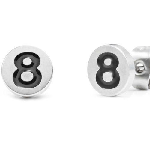 R&B Schmuck Herren Ohrstecker Ohrringe - Schwarze Billiardkugel Pool (Durchmesser 8mm, Paar, Schwarz, Silber): 9,90€