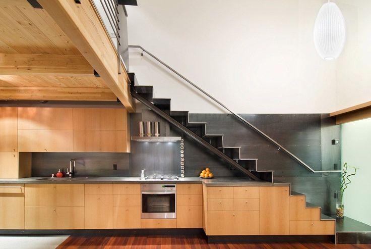 Interior , Creative Interior Design Under Stairs Ideas : Large Wooden Kitchen Idea Under The Stairs