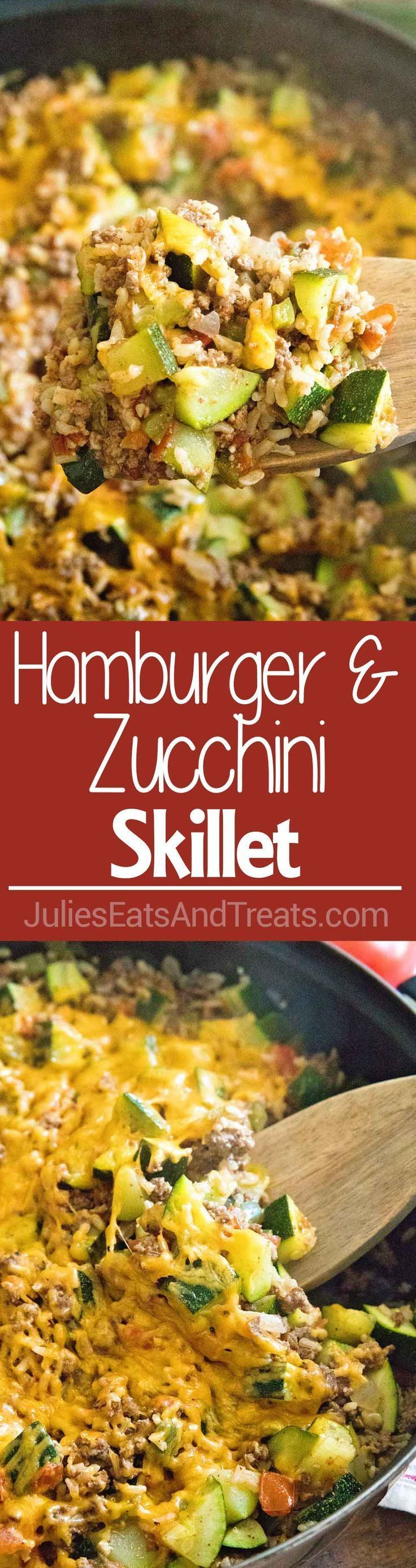 Hamburger and Zucchini Skillet ~ Delicious One Pan Dinner That is Light & Healthy! Loaded with Zucchini, Hamburger, Brown Rice, Green Pepper, and Tomatoes! On the Table in 30 Minutes!