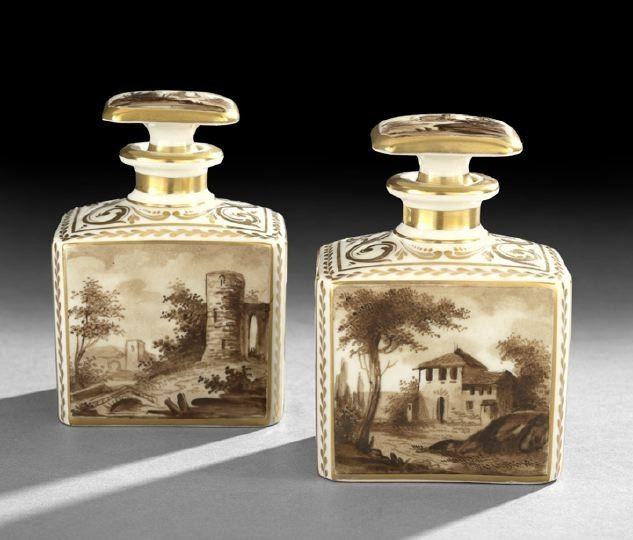 Pair of Crown Derby scent bottles, 1886