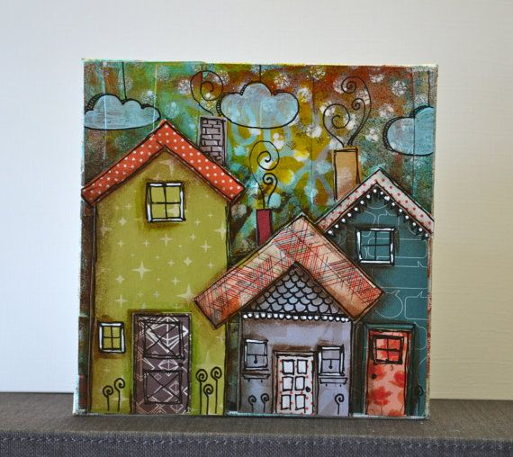 ready to personalize 3 little mixed media houses on by busygirlart, $15.00
