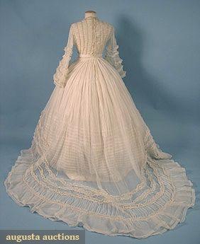 Organdy Wedding Dress, c. 1860 (back)