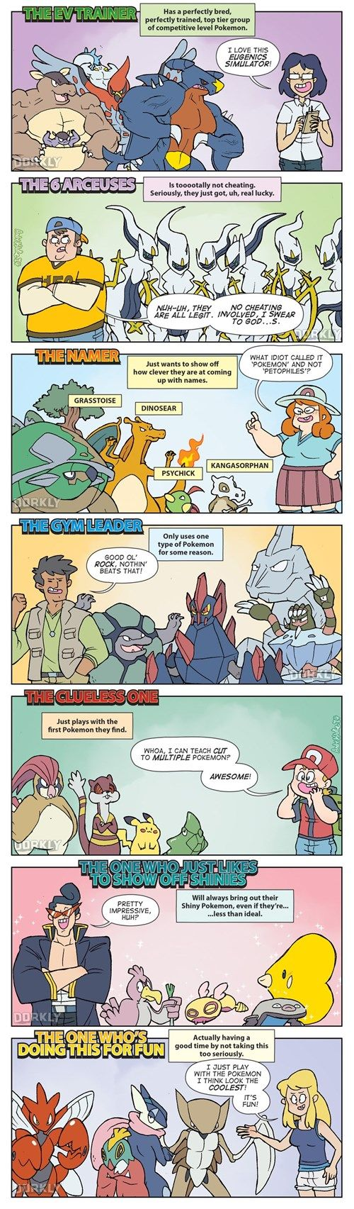 The Seven Types of Pokémon Players #Pokemon Comic--- I'm definitely the last type, and sometimes the nicknamer.... I'm not kidding, I have a Shiny Sharpedo named Sharkeisha.
