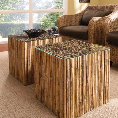 BAMBOO STICK Bunching Table Base With Glass