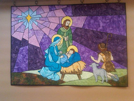 Quilted Stained Glass Nativity Wall Mural.