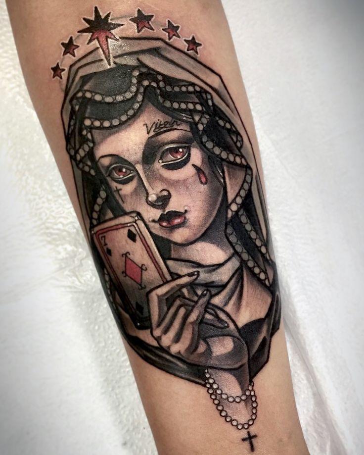 👼🏻maria&♦️seven - tattoo 문의&상담:카톡ID: qpqpgi Tattoo machines by @scott29993  #mariatattoo#cardtattoo#neotraditionaltattoos#crystaltattoo#타투이스트크리스탈#네오트레디셔널타투#이바사타투#성모마리아타투