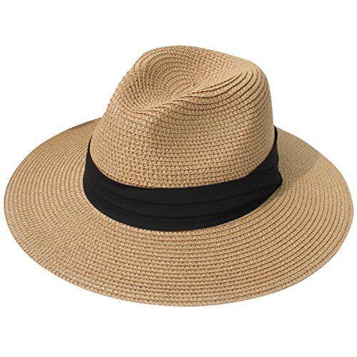 2c28584345536 JOYEBUY Womens UPF50 Foldable Summer Straw Hat Wide Brim Fedora Sun Beach  Hat (Brown)