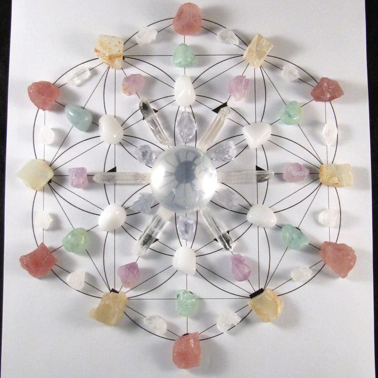 Full Moon Crystal Stone Grid created by Enter the Earth's Metaphysical Department (Stacie Coller & Christopher Lee Matthews).  The intentions of this grid is to assist in the harmony and balance of the emotional body and to provide nurturing support to all of the areas through which the moon has sway.   The Stones Included: (1) Girasol Quartz, (6) Celestite, (6) Quartz Points, (6) Milky Quartz, (6) Amethyst, (6) Aquamarine, (6) Rose Quartz, (6) Rough Moonstone, (12) Himalayan Salt