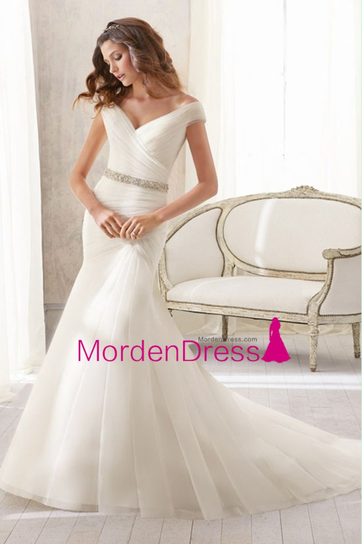2015 Off The Shoulder Column Wedding Dress Pleated Bodice With Beaded Sash Tulle Chapel Train