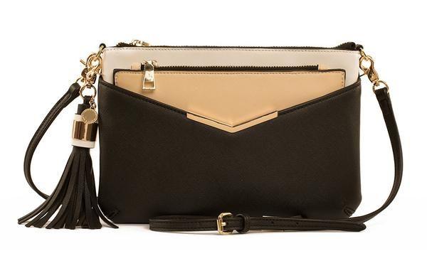 Poppy and Peonies The Crossbody Black Bag