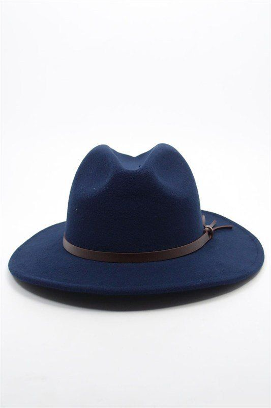 Women Wool-Felt Fedora Hat Navy