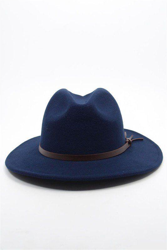 Women Wool-Felt Fedora Hat Navy
