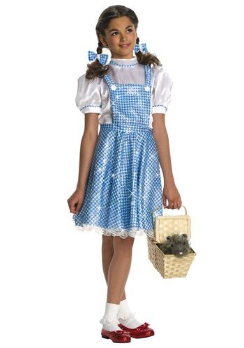 Your child will shine in this kids sequin Dorothy costume. This traditional Dorothy dress has sequins on it for a shimmering effect this Halloween.