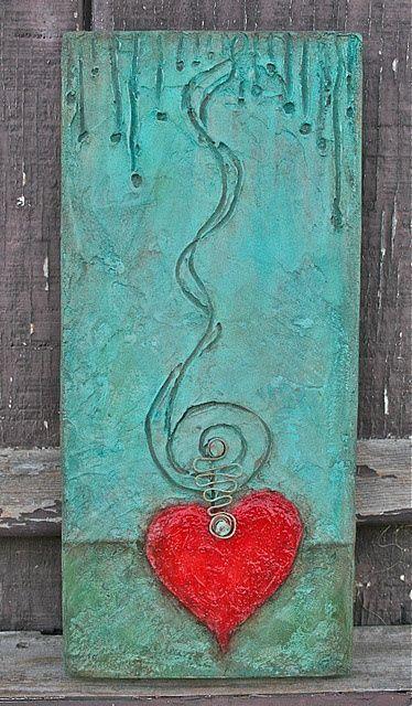 heart mixed media art