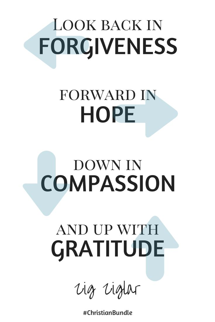 """Look back in forgiveness, forward in hope, down in compassion and up with gratitude."" Zig Zigler Quote from 2014 Christian Living Bundle"