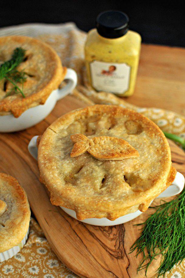 Dilled Salmon & White Bean Pot Pies | Bean pot, Pot pies and Pigs