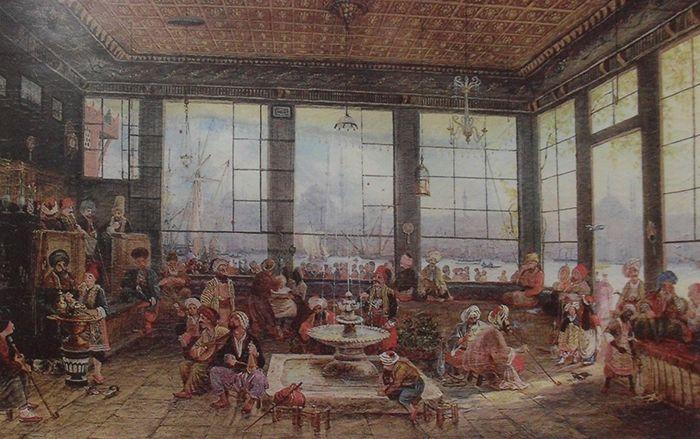 Auguste Mayer'in Haliçte bir kahvehaneyi gösteren 1856 tarihli çizimi. A caffehouse in Haliç - İstanbul, illustrated by Auguste Mayer, 1856.