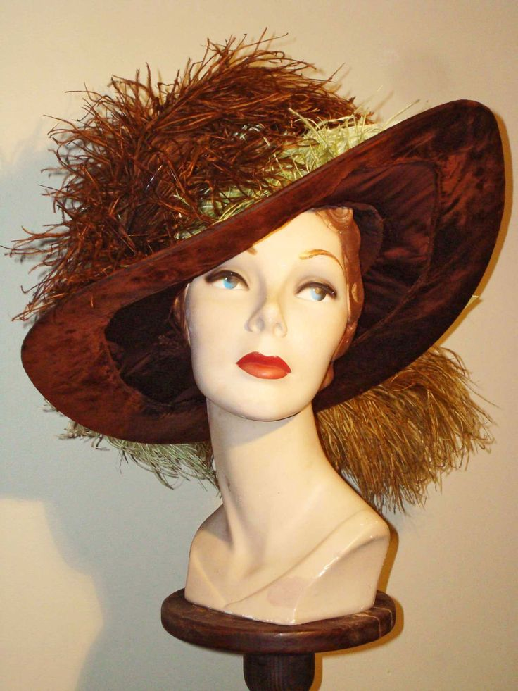 Restored brown velvet and satin gainsborough ca 1915
