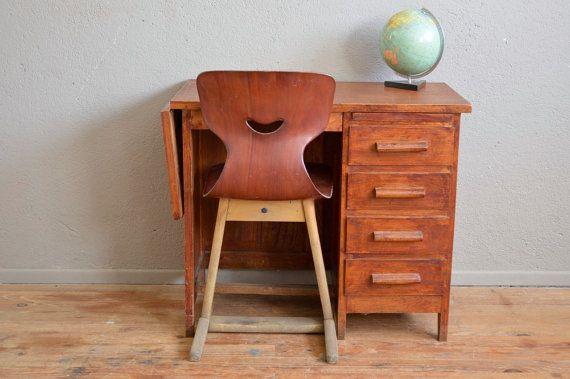 Petit Bureau enfant type dactylo administration années 50 vintage rétro antic french services desk midcentury kid desk craft furniture