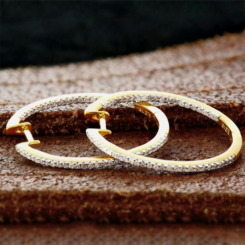 9ct Yellow Gold 27mm Diamond Hoop Earrings - purejewels.com.au $499