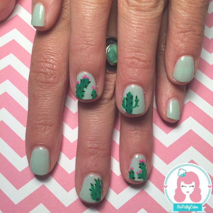 "Nail Art By MsPattyCake on Instagram: ""Some cactus nail art on…"