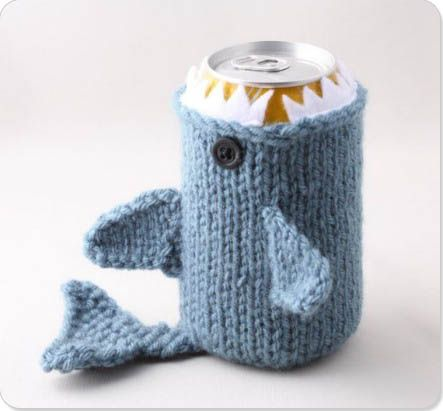 Knitted shark coozie.  Yes.