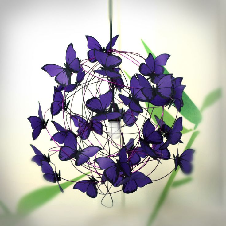 "Lamp with violet butterflies ""Purple Rain"" by At Last! Crafts"