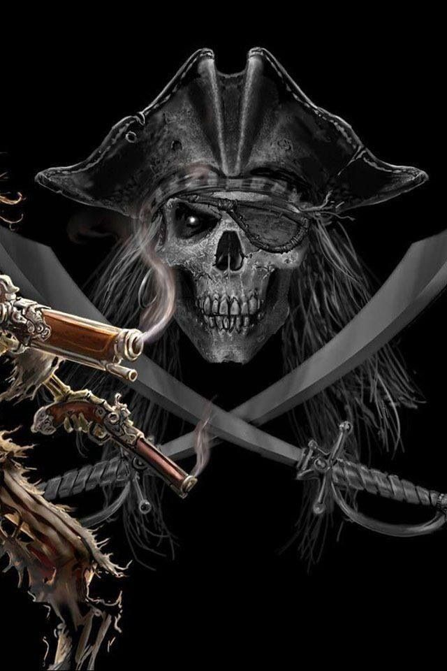 Arrgggh... a pirate's skull with cross swords and smokin' pistols. Fair warning! Pirates!