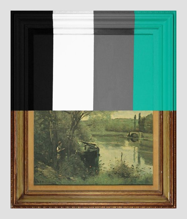 Thrift Store Landscape With Large Bars - paint on found print and frame - 2013 - 28 x 23,5 x 1,5 - Chad Wys