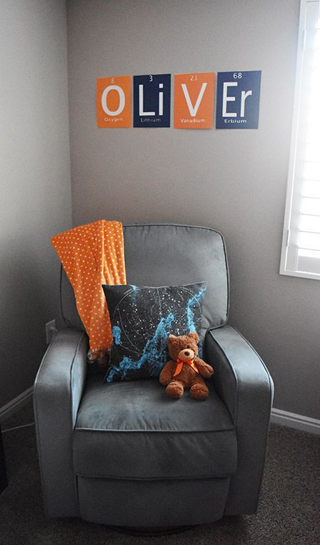 Spaced Themed Nursery on Living Darling. Orange, navy blue, aqua, and gray color scheme .