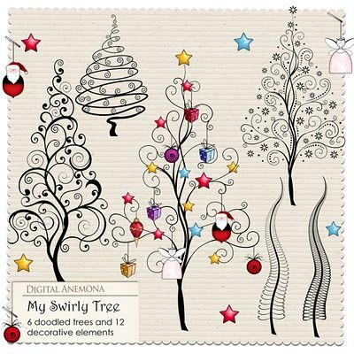 Digital Anemona: These doodled Christmas trees would look great as either a quilting design element, or stand-alone with added miniature ornaments.