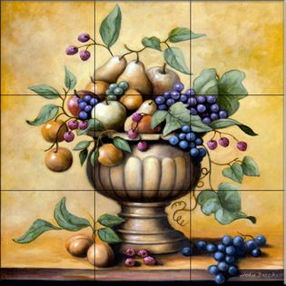The Tile Mural Store (USA) - Tile Mural - Fruit Bowl  - Kitchen Backsplash Ideas - This beautiful artwork by John Zaccheo has been digitally reproduced for tiles and depicts a nice fruit bowl.    Our kitchen tile murals are perfect to use as part of your kitchen backsplash tile project. Add interest to your kitchen backsplash wall with a decorative tile mural. If you are remodeling your kitchen or building a new home, install a tile mural above your stove top or install a tile mural above…